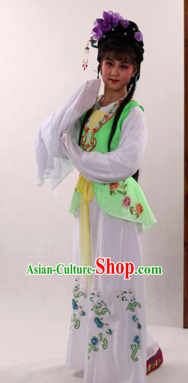 Traditional Chinese Peking Opera Maidservants Light Green Dress Ancient Servant Girl Costume for Women