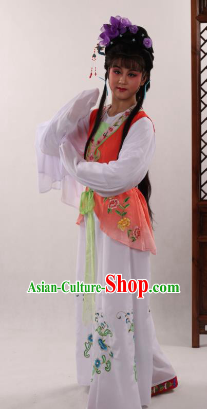 Traditional Chinese Peking Opera Maidservants Orange Dress Ancient Servant Girl Costume for Women