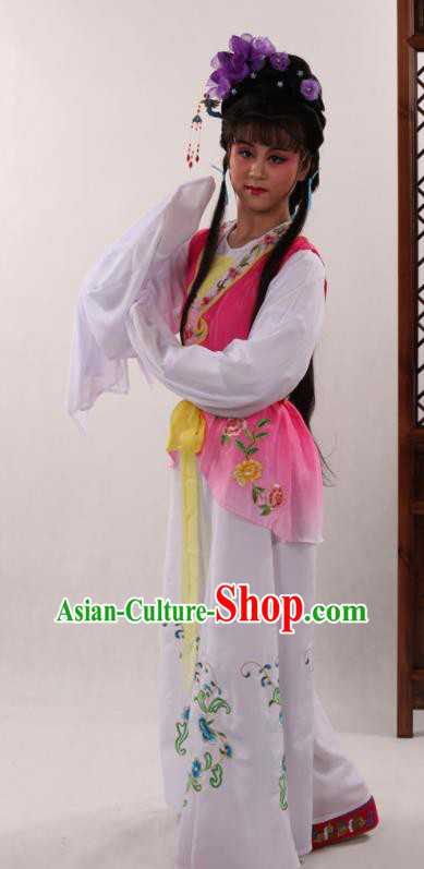 Traditional Chinese Peking Opera Maidservants Rosy Dress Ancient Servant Girl Costume for Women