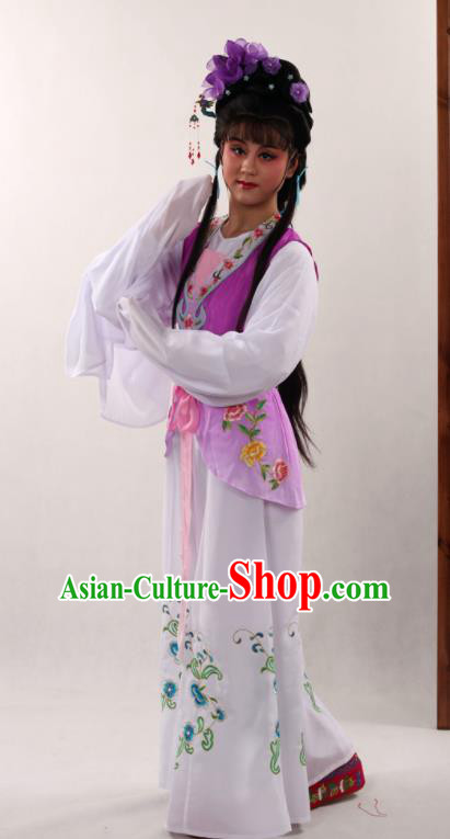 Traditional Chinese Peking Opera Maidservants Purple Dress Ancient Servant Girl Costume for Women