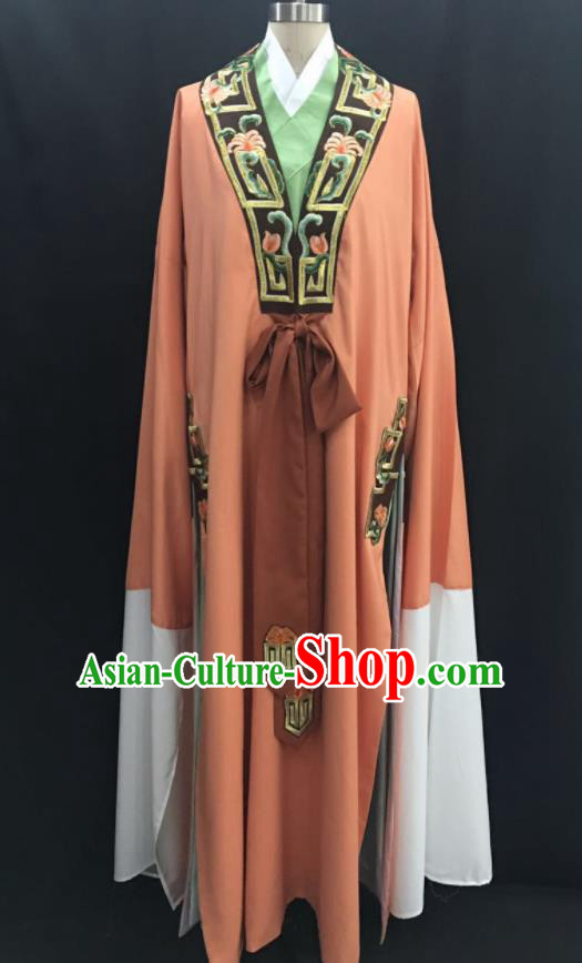 Traditional Chinese Huangmei Opera Niche Orange Robe Ancient Romance of the Western Chamber Scholar Costume for Men