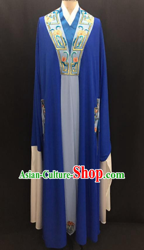 Traditional Chinese Huangmei Opera Niche Royalblue Robe Ancient Romance of the Western Chamber Scholar Costume for Men