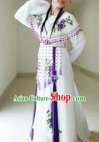 Traditional Chinese Peking Opera Diva White Dress Ancient Nobility Lady Costume for Women