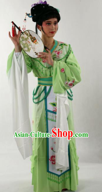 Traditional Chinese Huangmei Opera Diva Green Dress Ancient Peking Opera Nobility Lady Costume for Women