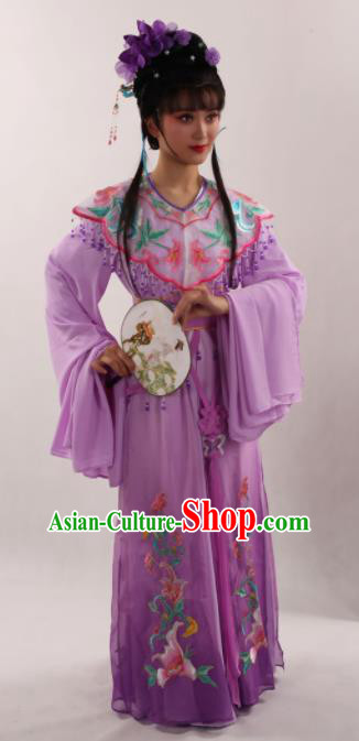 Traditional Chinese Peking Opera Diva Purple Dress Ancient Goddess Princess Costume for Women