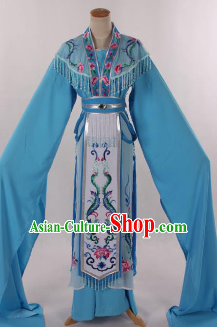 Traditional Chinese Shaoxing Opera Seven Fairy Blue Dress Ancient Peking Opera Diva Costume for Women