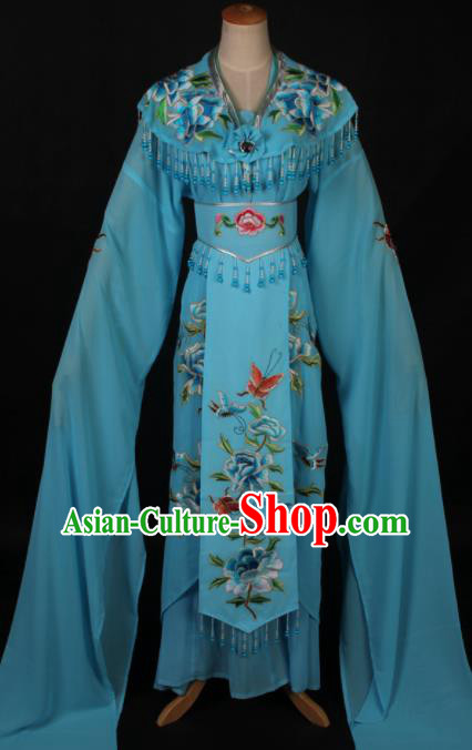 Traditional Chinese Shaoxing Opera Diva Blue Dress Ancient Peking Opera Princess Costume for Women