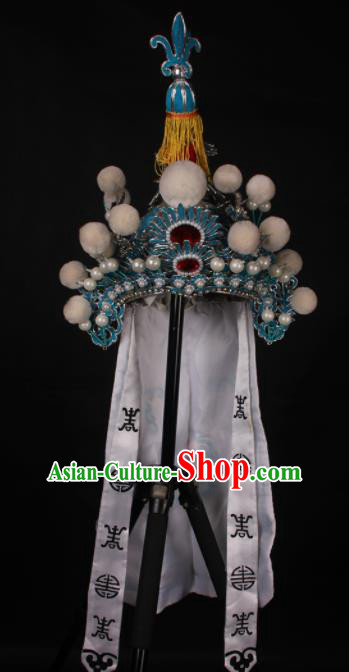 Traditional Chinese Shaoxing Opera Takefu Hat Ancient Soldier Helmet Headwear for Men