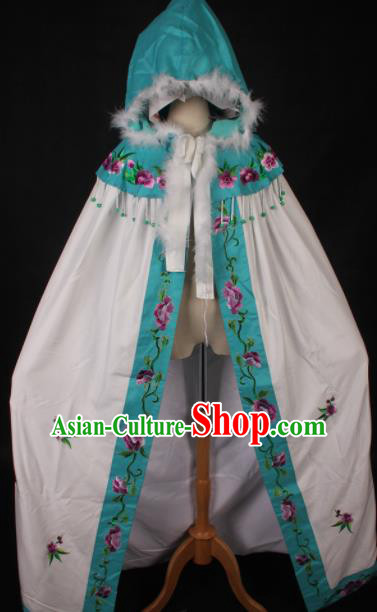 Traditional Chinese Shaoxing Opera Diva White Cape Ancient Peking Opera Princess Costume for Women