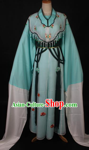 Traditional Chinese Shaoxing Opera Diva Lin Daiyu Green Dress Ancient Peking Opera Princess Costume for Women