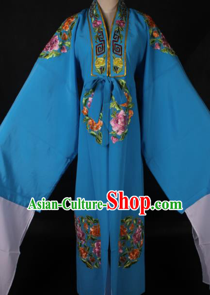 Traditional Chinese Shaoxing Opera Niche Embroidered Blue Gown Ancient Gifted Scholar Costume for Men
