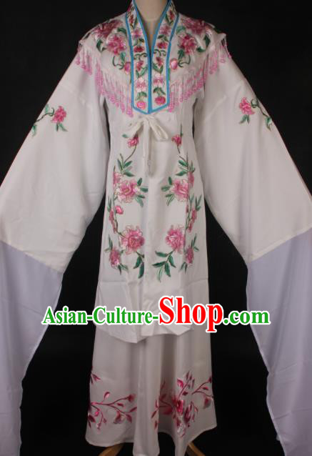 Traditional Chinese Shaoxing Opera Embroidered White Dress Ancient Peking Opera Diva Costume for Women