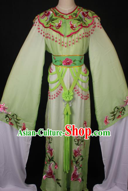 Traditional Chinese Shaoxing Opera Princess Embroidered Green Dress Ancient Peking Opera Diva Costume for Women