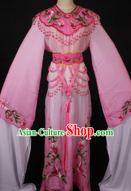 Traditional Chinese Shaoxing Opera Princess Embroidered Pink Dress Ancient Peking Opera Diva Costume for Women
