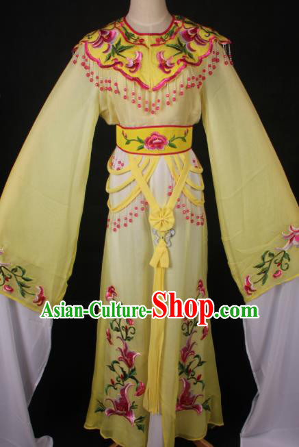 Traditional Chinese Shaoxing Opera Princess Embroidered Yellow Dress Ancient Peking Opera Diva Costume for Women