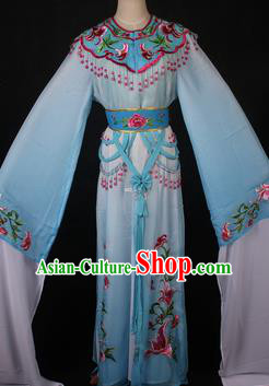 Traditional Chinese Shaoxing Opera Princess Embroidered Blue Dress Ancient Peking Opera Diva Costume for Women