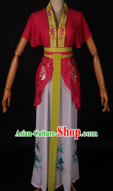 Traditional Chinese Shaoxing Opera Maidservant Rosy Dress Ancient Peking Opera Poor Lady Costume for Women