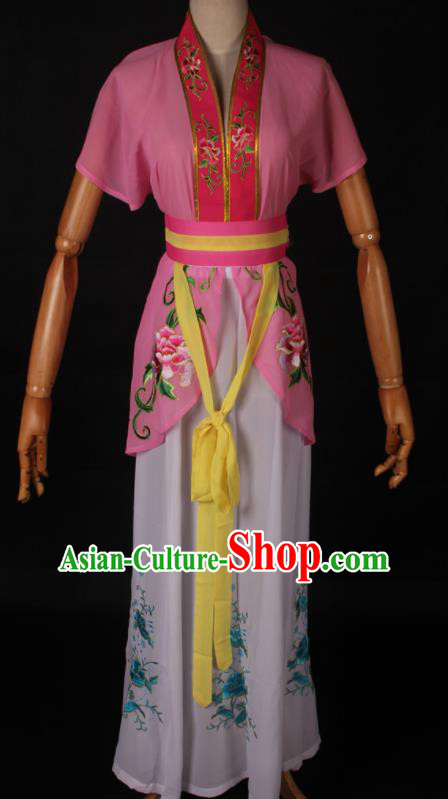 Traditional Chinese Shaoxing Opera Maidservant Pink Dress Ancient Peking Opera Poor Lady Costume for Women