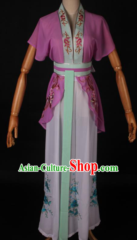 Traditional Chinese Shaoxing Opera Maidservant Purple Dress Ancient Peking Opera Poor Lady Costume for Women
