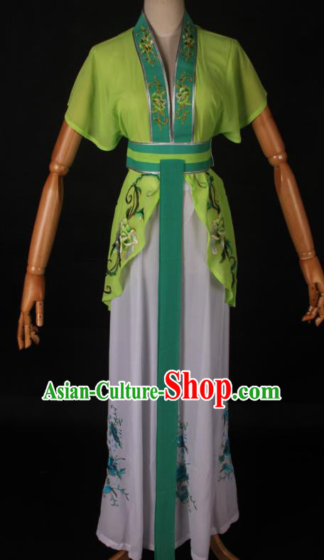 Traditional Chinese Shaoxing Opera Maidservant Light Green Dress Ancient Peking Opera Poor Lady Costume for Women
