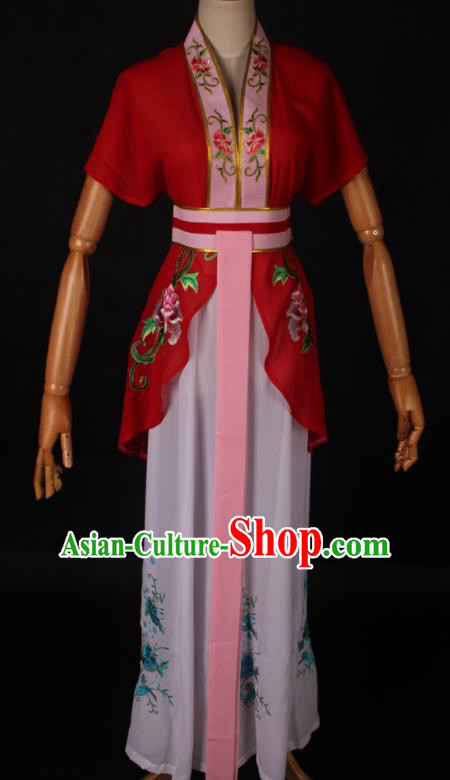 Traditional Chinese Shaoxing Opera Maidservant Red Dress Ancient Peking Opera Poor Lady Costume for Women