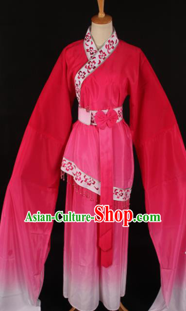 Chinese Traditional Shaoxing Opera Rosy Dress Ancient Peking Opera Maidservant Xi Shi Costume for Women