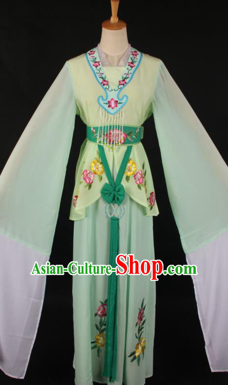 Chinese Traditional Shaoxing Opera A Dream in Red Mansions Green Dress Ancient Peking Opera Maidservant Costume for Women