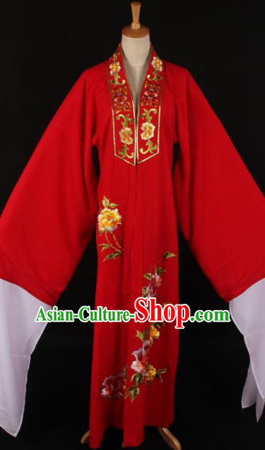 Traditional Chinese Shaoxing Opera Niche Embroidered Peony Red Gown Ancient Gifted Scholar Costume for Men