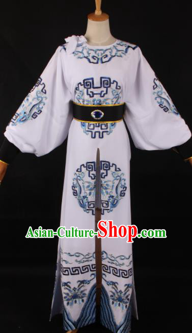 Traditional Chinese Shaoxing Opera Takefu White Clothing Ancient Imperial Bodyguard Costume for Men
