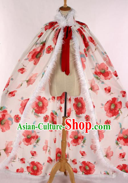 Chinese Traditional Shaoxing Opera Printing Cape Ancient Peking Opera Actress Costume for Women