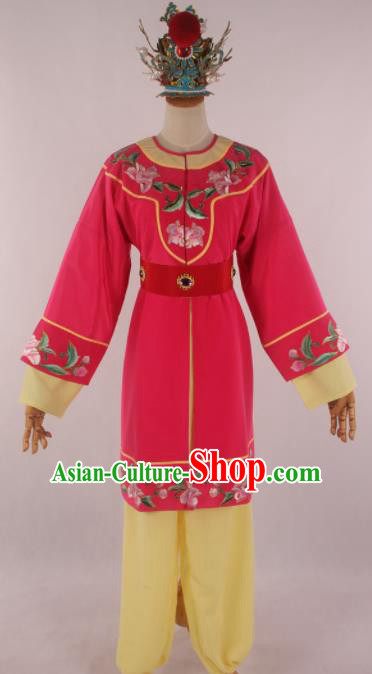 Traditional Chinese Shaoxing Opera Livehand Rosy Clothing Ancient Servant Costume for Men