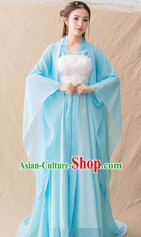 Chinese Ancient Drama Goddess Princess Blue Hanfu Dress Traditional Han Dynasty Imperial Consort Replica Costumes for Women
