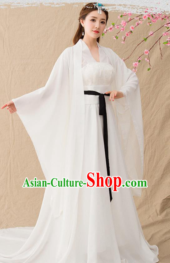 Chinese Ancient Drama Princess Goddess White Hanfu Dress Traditional Tang Dynasty Imperial Consort Replica Costumes for Women