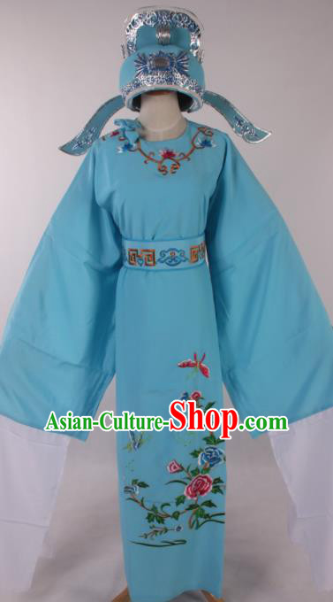 Traditional Chinese Shaoxing Opera Niche Embroidered Peony Blue Robe Ancient Nobility Childe Costume for Men