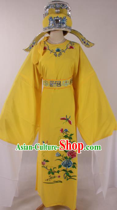 Traditional Chinese Shaoxing Opera Niche Embroidered Peony Yellow Robe Ancient Nobility Childe Costume for Men