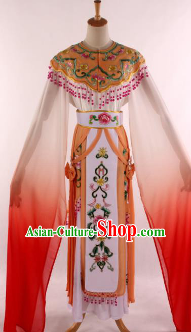 Chinese Traditional Shaoxing Opera Court Princess Orange Dress Ancient Peking Opera Actress Costume for Women