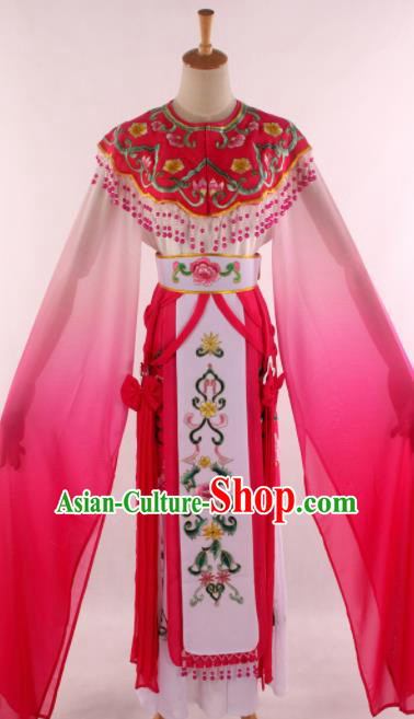 Chinese Traditional Shaoxing Opera Court Princess Rosy Dress Ancient Peking Opera Actress Costume for Women