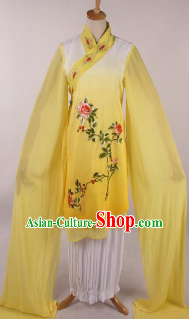Chinese Traditional Shaoxing Opera Buddhist Nun Yellow Dress Ancient Peking Opera Actress Costume for Women