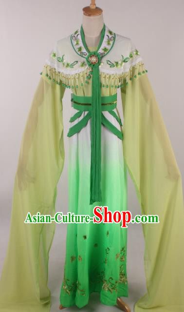 Chinese Traditional Huangmei Opera Seven Fairies Green Dress Ancient Peking Opera Actress Costume for Women