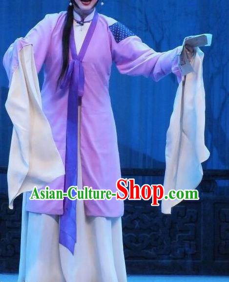 Chinese Traditional Shaoxing Opera Poor Lady Purple Dress Ancient Peking Opera Actress Costume for Women