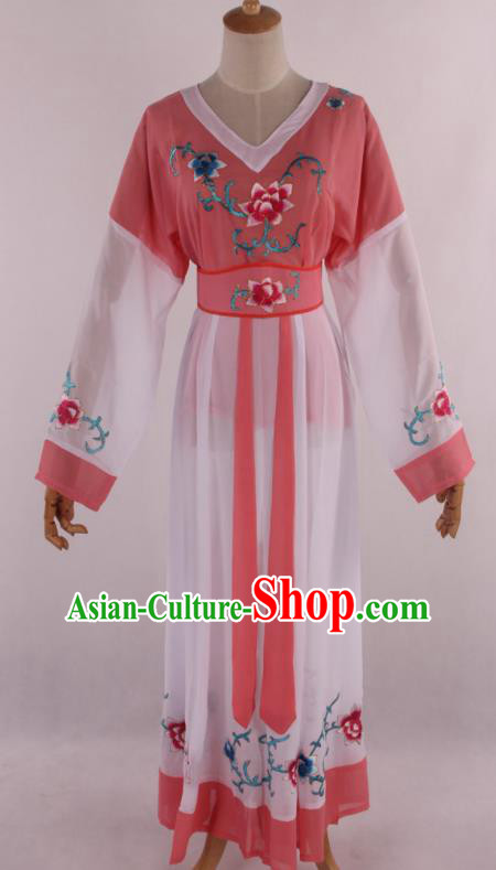 Chinese Traditional Shaoxing Opera Young Lady Peach Pink Dress Ancient Peking Opera Maidservant Costume for Women
