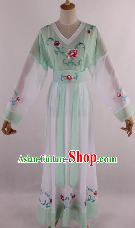 Chinese Traditional Shaoxing Opera Young Lady Aqua Green Dress Ancient Peking Opera Maidservant Costume for Women