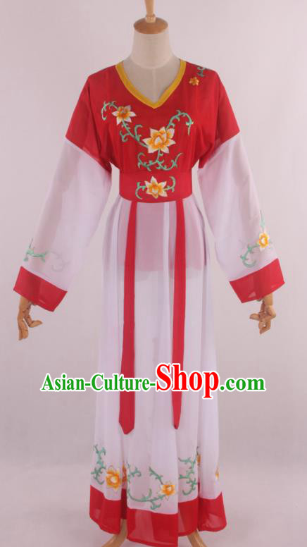 Chinese Traditional Shaoxing Opera Young Lady Red Dress Ancient Peking Opera Maidservant Costume for Women