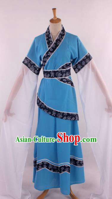 Chinese Traditional Opera Farmwife Blue Dress Ancient Peking Opera Diva Costume for Women