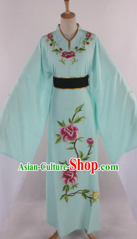 Traditional Chinese Shaoxing Opera Niche Scholar Embroidered Green Robe Ancient Nobility Childe Costume for Men