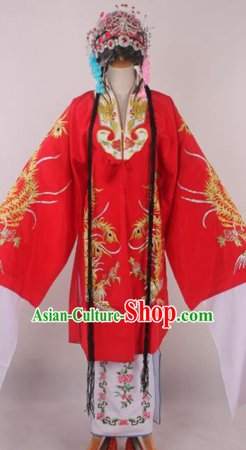 Chinese Beijing Opera Diva Red Dress Ancient Traditional Peking Opera Court Queen Costume for Women