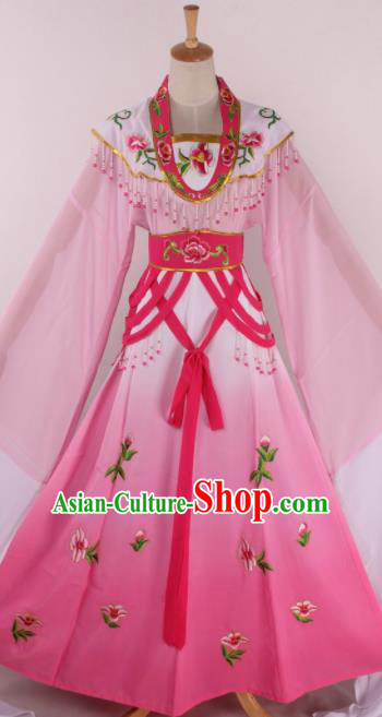 Chinese Beijing Opera Diva Pink Dress Ancient Traditional Peking Opera Court Princess Costume for Women