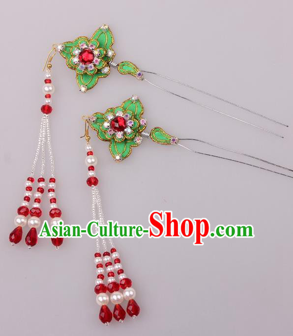 Traditional Chinese Shaoxing Opera Diva Tassel Hairpins Ancient Princess Hair Accessories Headwear for Women