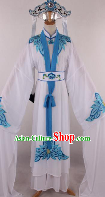 Chinese Beijing Opera Taoist Nun White Dress Ancient Traditional Peking Opera Actress Costume for Women