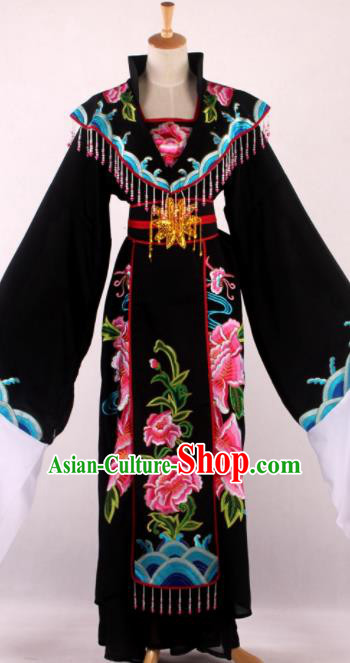 Chinese Beijing Opera Queen Black Dress Ancient Traditional Peking Opera Actress Costume for Women